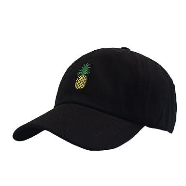 0dc4e9c1c25 Himozoo Pineapple Embroidery Dad Hat Adjustable Cotton Baseball Cap for Men  Womens (Black)