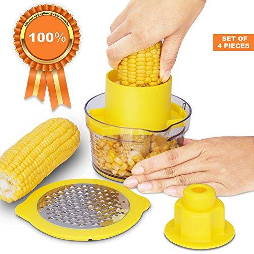 Corn Peeler Corn Remover Kitchen Tools - Corn Cob Peeler - Corn Stripping Tool - Corn Kerneler Poato Sicer Ginger Sharpener Garlic Plane Cutter + Measuring Cup Kitchen Gadget (yellow)