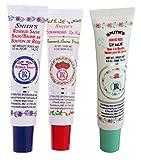 Rosebud Perfume Co. Tube 3 Pack: Smiths Rosebud Salve + Smiths Strawberry Lip Balm + Smiths Minted Rose Lip Balm
