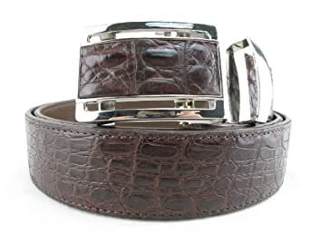"PELGIO Genuine Crocodile Caiman Skin Men's Belt 46"" Long Auto Locking (Brown)"