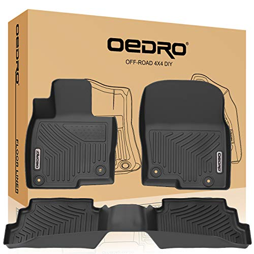 oEdRo Floor Mats Compatible for 2017-2019 Mazda CX-5, Unique Black TPE All-Weather Guard Includes 1st and 2nd Row: Front, Rear, Full Set Liners (Set Heavyweight Mat Rear)