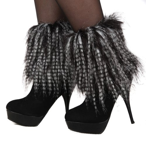 Artificial Lower Leg Ankle Winter Warmer Shoe Cover Legging Fur Boot Sleeve (Black & White) from Nicky's Gift