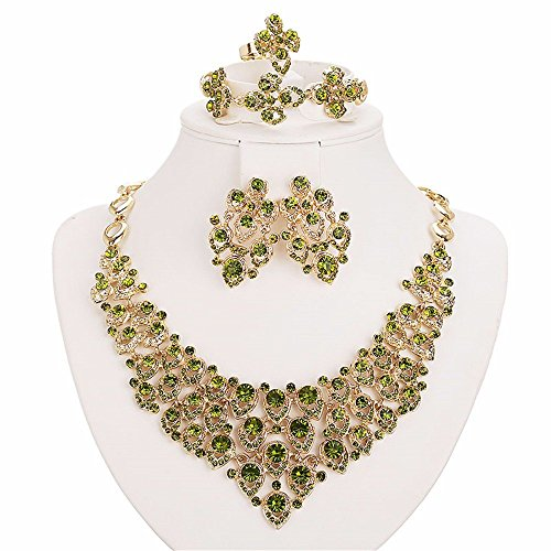 Moochi 18K Gold Plated Green Crystal Embedded Scarf Pattern Jewelry Set - Costume Jewelry Art