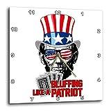 3dRose Carsten Reisinger - Illustrations - Abraham Lincoln Bluffing Like A Patriot Poker Player USA Flag - 13x13 Wall Clock (DPP_293417_2)