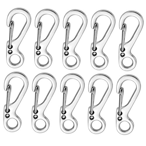 SF Paracord Keychain Carabiner Clip Accessories,EDC Emergency Keyring Keychain Clips Bulk Pack(Silver)