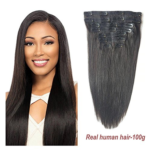 """: Double Weft Human Hair Clip in Extensions, Re4U Hair 18"""" 100g/3.5oz 8 pieces Unprocessed #1b Natural Black for American African Full Head (18"""" 8pcs 3.5oz Natural Black)"""