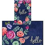 Studio M Boho Flowers Indoor/Outdoor MatMates Doormat and Matching BreezeArt SolarSilk Garden Flag