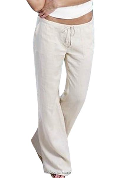 Algodón Mujer Pantalón Lino Pantalones De Con Yulinge Para F1cKlJ