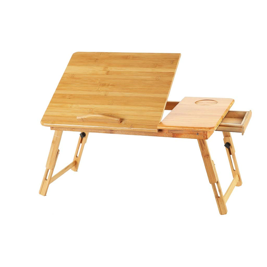 Kstare Folding Table 4 Foot Bamboo Tray Bed Tray Breakfast Table, Laptop Desk, Bed Table, Serving Tray 50x30x22cm