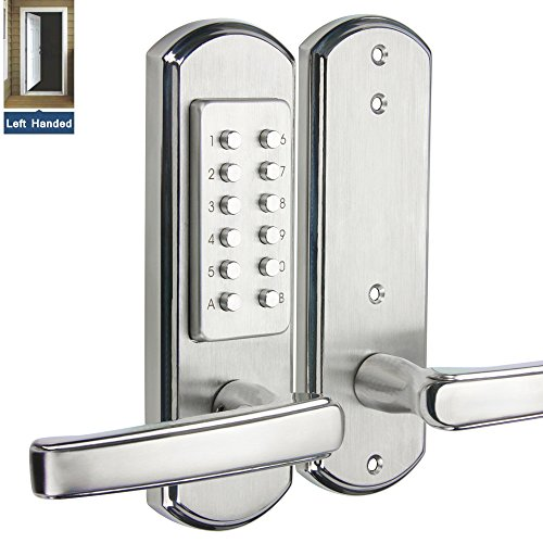 Hangcheng Left Handed Door Keyless Entry Door Lock Mechanical Digital Code Lock-Not Deadbolt(Only for The Door Opens Inward & Need to Drill Additional 4 Holes) ()