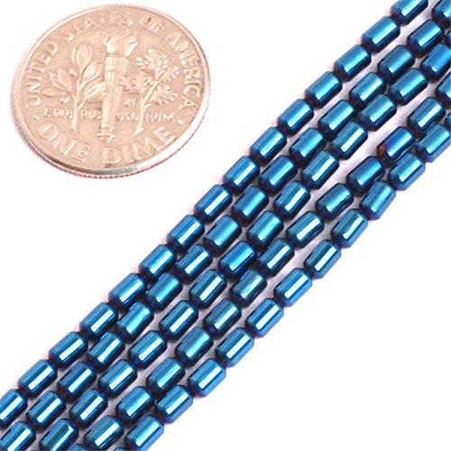 - Hematite Beads for Jewelry Making Gemstone Semi Precious 2x4mm Column Tube Blue Metallic Coated 15