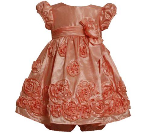 Bonnie Jean Baby 12M-24M Coral Bonaz Rosette Border Taffeta Party Dress