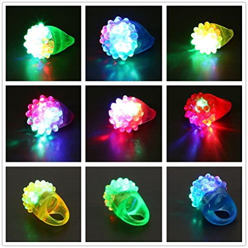 LandFox 18 Pcs Led Rubber Rings for Party Favors Jelly Bubble Light Up Finger -
