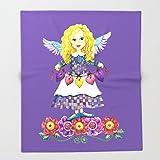 Society6 Angel Love (Purple) Throw Blankets 88'' x 104'' Blanket