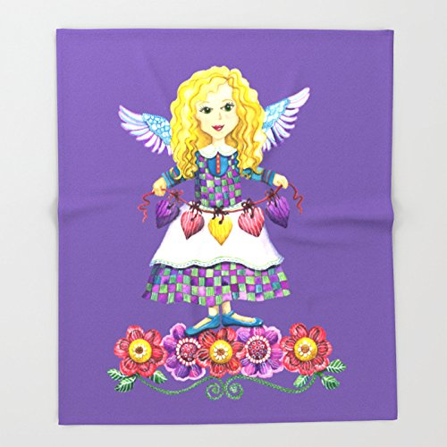 Society6 Angel Love (Purple) Throw Blankets 88'' x 104'' Blanket by Society6 (Image #1)
