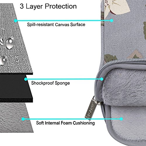 MOSISO Laptop Shoulder Bag Compatible 13-13.3 Inch MacBook Pro, MacBook Air, Surface Book, Notebook Computer, Canvas Rose Pattern Laptop Shoulder Messenger Handbag Case Cover Sleeve, Gray by MOSISO (Image #2)