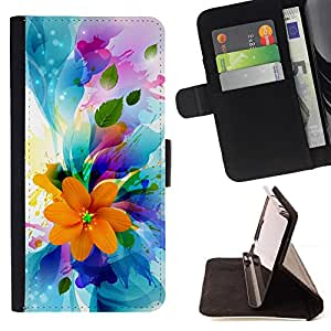 DEVIL CASE - FOR HTC One M7 - Flowers Spring Colorful Blossom Bouquet - Style PU Leather Case Wallet Flip Stand Flap Closure Cover