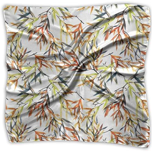 (Bandana Head and Neck Tie Neckerchief,Ethnic Bamboos Brush Paint With East Chinese Folk Art Style Boho)