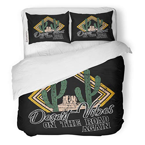 Semtomn Decor Duvet Cover Set King Size Desert Vibes and Cactus Slogan Western Road Tripper Label 3 Piece Brushed Microfiber Fabric Print Bedding Set Cover ()