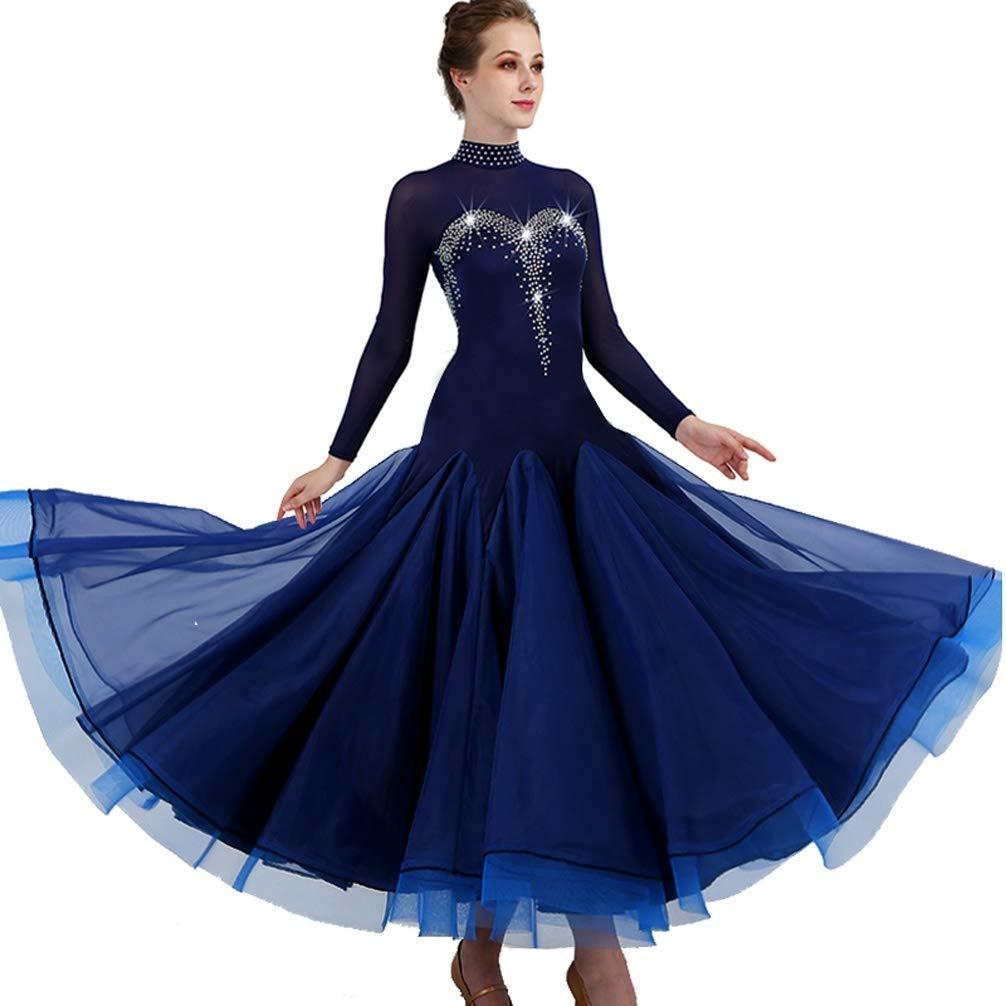 モダンダンススカート全国標準のダンスドレス社交ダンスワルツ競技パフォーマンス衣装 B07QRXDZB6 S s|ブルー ブルー S s