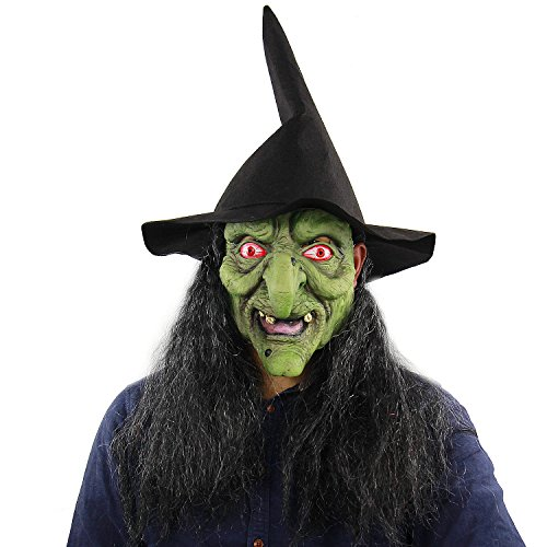 Old Witch Mask with Hair for Halloween Costume Masquerade Party Props Latex for Women and Kids (Free Size) (Style one) -