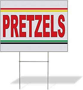 Fastasticdeals Weatherproof Yard Sign Pretzels Red Food Bar Restaurant Truck Lawn Garden Bakery 24x18 Inches 1 Side Print