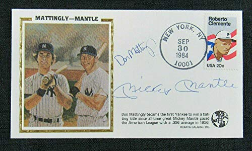 - Mickey Mantle Don Mattingly Signed Auto Autograph Silk Cachet 1st Day Cover Enve - MLB Cut Signatures