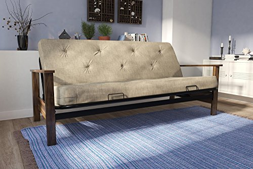 DHP Bergen Wood Arm and Metal Futon Frame with 6-inch Coil Mattress, Mid Century Design, Converts to Full Size Bed - Tan - Wood Futon Arm