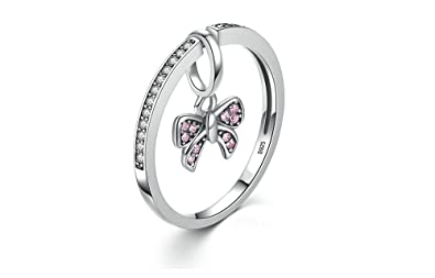 Dixey Luxury Anillos de Plata 925-Sterling-Silver-Pink-Bow-Knot