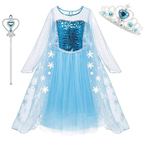 DXYtech Snow Queen Elsa Costumes Princess Dress Up Halloween Chritmas Cosplay Costume Party Outfit with Crown Wand for Girls (Long Sleeve, -