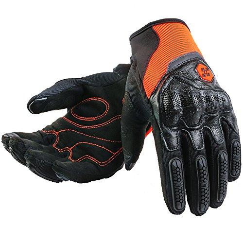 ILM ATV BMX MX MTB Riding Cycling Dirt Bike Full Finger Gloves Touchscreen Motorcycle Motocross Sports Men Women (Orange, M)
