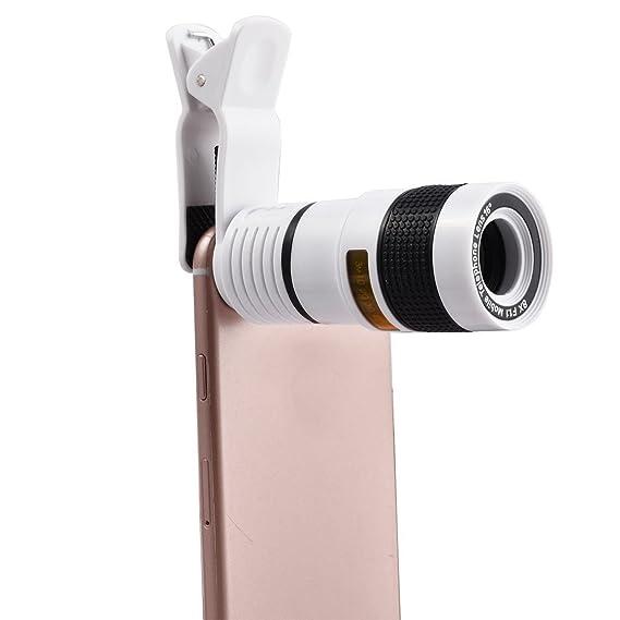 Amazon.com: eDealMax Clip de la lente de la cámara de Zoom óptico de 8X HD teleobjetivo Negro Blanco Para el teléfono celular: Electronics