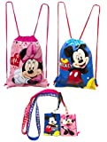 (4ct) Mickey & Minnie Mouse Drawstring Backpack - Lanyards with Detachable Coin Purse