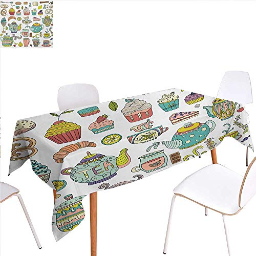 familytaste Tea Party Rectangular Tablecloth Coffee and Dessert Cupcake Bagel Doughnut Baked Good and Sweets Cinnamon Teapot Oblong Wrinkle Resistant Tablecloth 50