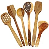 ITOS365 Handmade Wooden Spoons Cooking Utensil-Set (6-Pieces) Kitchen Tools, Set of 6