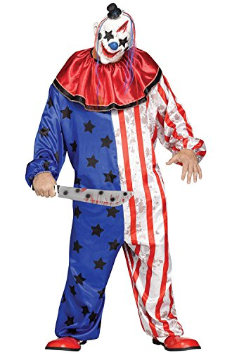 Cool Clown Costume (Fun World Men's Evil Clown Plsz Cstm, Multi, Plus)