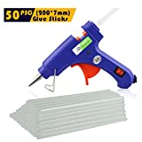Hot Glue Gun - 20w Mini High Temp Glue Gun & 50pcs Small Hot Glue Sticks, Best Replacement Glue Sticks and High Performanc Craft for DIY, Craft, Industral, Leather Bonding, Child Safe Glue Gun etc