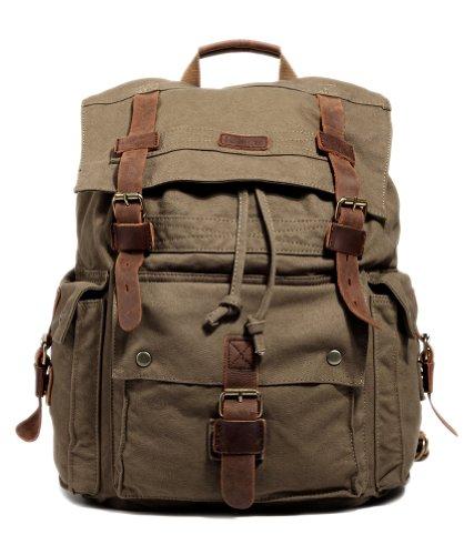 Kattee Men S Canvas Leather Hiking Travel Backpack Rucksack School Bag