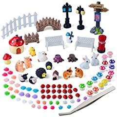 Zealer Miniature Ornament Set will bring a sparkle of magic into your fairy garden and dollhouse! It's full of creativity, imagination and a belief in fairies!  Own them and create your own fairy garden now!  Package Included: - 1 * Big Signp...