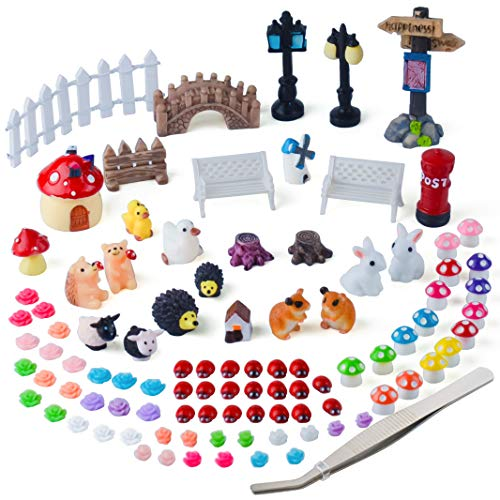 Set Fairy Garden (Zealor 100 Pieces Miniature Ornaments Kit for DIY Fairy Garden Dollhouse Decoration)