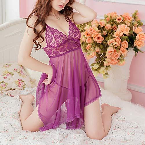 (Lace Babydoll Nightdress,Women Sexy 2 Pcs Lingerie Set Mesh Chemise V Neck Sheer Cup Sleepwear G-String Nightwear Purple)