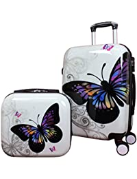 2 Piece Hardside Upright Spinner Luggage Set, Butterfly, One Size