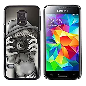 LECELL -- Funda protectora / Cubierta / Piel For Samsung Galaxy S5 Mini, SM-G800, NOT S5 REGULAR! -- Retro Vintage Selfie Painting --