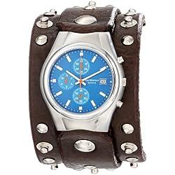 Red Monkey Designs Men's RMVL1-G Violator Chronograph Brown Leather Blue Dial Watch