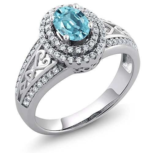 Gem Stone King 1.61 Ct Oval Blue Zircon 925 Sterling Silver Ring (Size ()