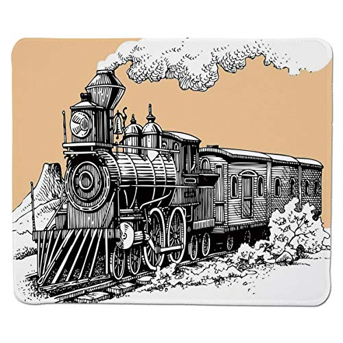 SCOCICI Mouse Pad with Locking Edge,Vintage Wooden Train Rail Wild West Wagon in Countryside Drawing Effect Artsy,Non-Slip Rubber Base Mousepad,for Laptop,Computer,PC,Keyboard (11.8