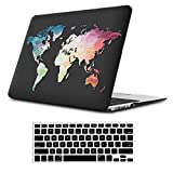 iLeadon MacBook Air 13 inch Protective Hard Case Rubber Coated Ultra Thin Shell Cover+Keyboard Cover for Older Version MacBook Air 13 inch Model A1369/A1466 (MacBook Air 13', Black Map)