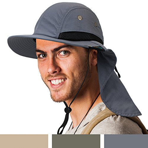 SUN CUBE Fishing Sun Hat for Men with Neck Cover Flap, Wide Brim Bill Shade, Adjustable Fit Chin Strap for Outdoor, Hiking, Safari, Hunting | Summer UPF 50+, Breathable Mesh| Packable Cap (Gray)