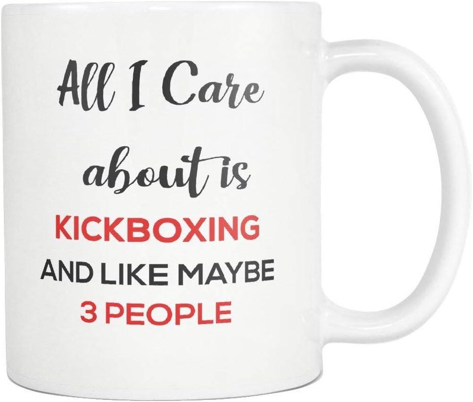 jingqi Kickboxing Coffee Mug Cup Todo lo Que me Importa es Kickboxing 11 Oz Ideas de Regalos Divertidos para mamá jubilada Papá Abuela Abuelo Madre Día del Padre Hombres Mujeres Camisa