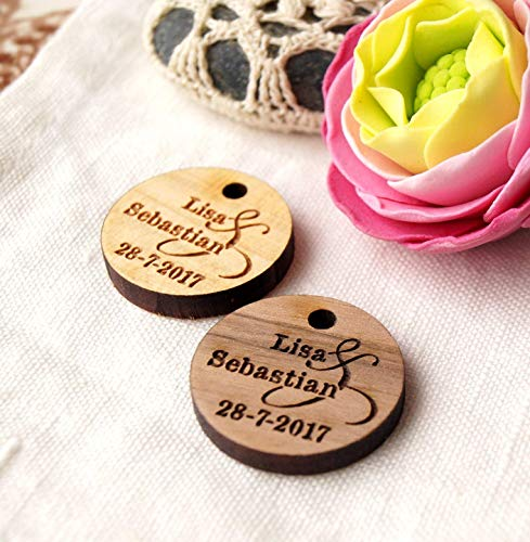 Wedding favor tags, thank you tags, wooden tags, wedding favor, gift, shower tags, real wood tags, laser cut engraved tags - Set of 25 pieces